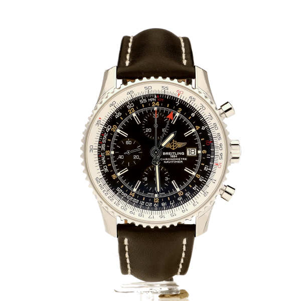 Breitling Navitimer 1 Chronograph GMT 46 Black Leather (Calf) Tang-Type