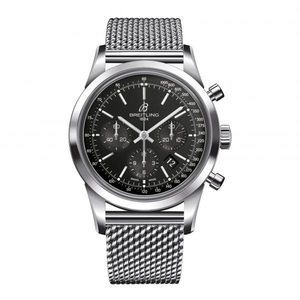 Breitling Transocean Chronograph Black Stainless Steel Folding Clasp
