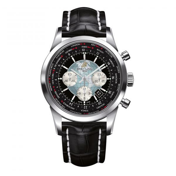 Breitling Transocean Chronograph Unitime Black Leather (Crocodile) Tang-Type