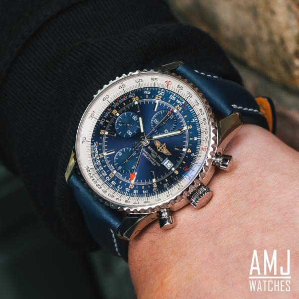 Breitling Navitimer 1 Chronograph GMT 46 Blue Leather Tang-Type
