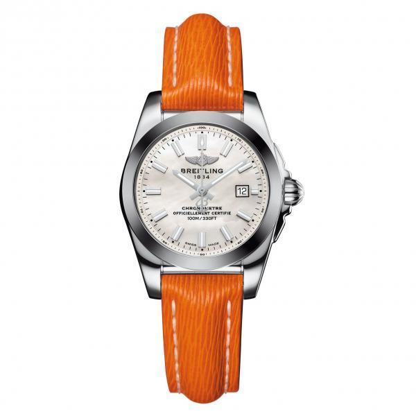 Breitling Galactic 29 Mother Of Pearl Leather (Sahara) Tang Type