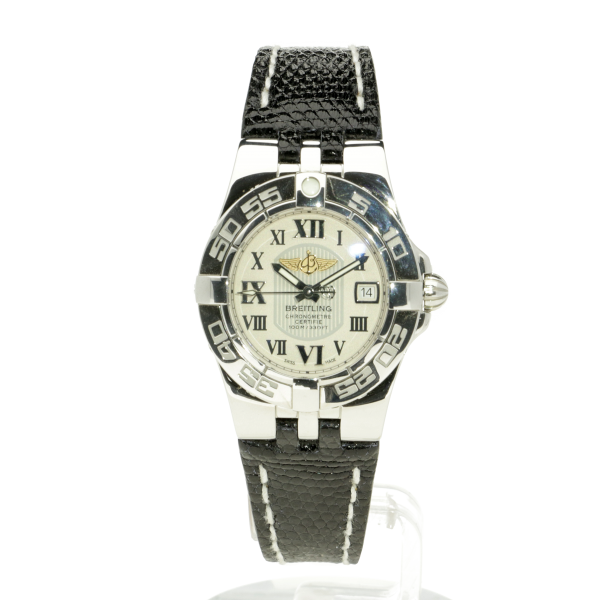 Breitling Galactic 30 Silver Leather (Lizard) Folding Clasp