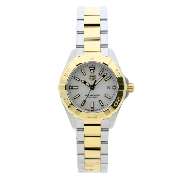 TAG Heuer Aquaracer Quartz White & Gold Mother of Pearl