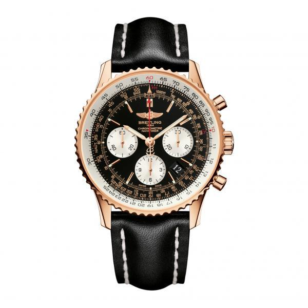 Breitling Navitimer 01 Black Leather Folding Clasp