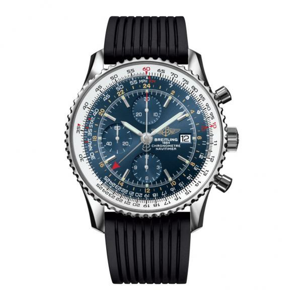 Breitling Navitimer 1 Chronograph GMT 46 Blue Rubber Folding Clasp