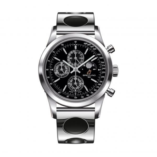 Breitling Transocean Chronograph 1461 Black Stainless Steel Folding Clasp