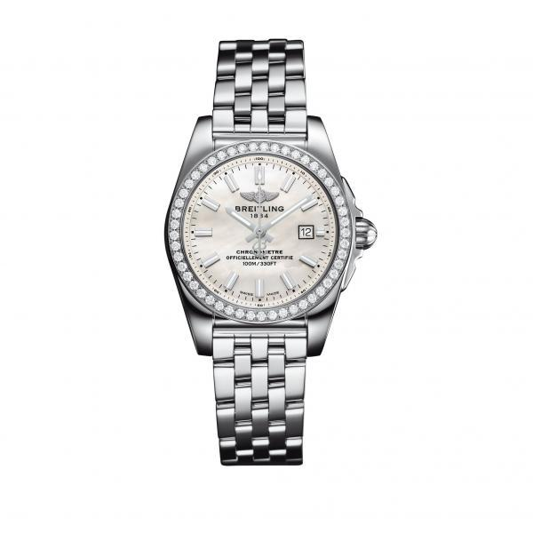 Breitling Galactic 29 Mother Of Pearl Stainless Steel (Pilot) Folding Clasp