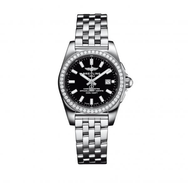 Breitling Galactic 29 Black Stainless Steel (Pilot) Folding Clasp