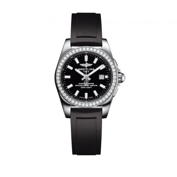 Breitling Galactic 29 Black Leather Tang Clasp