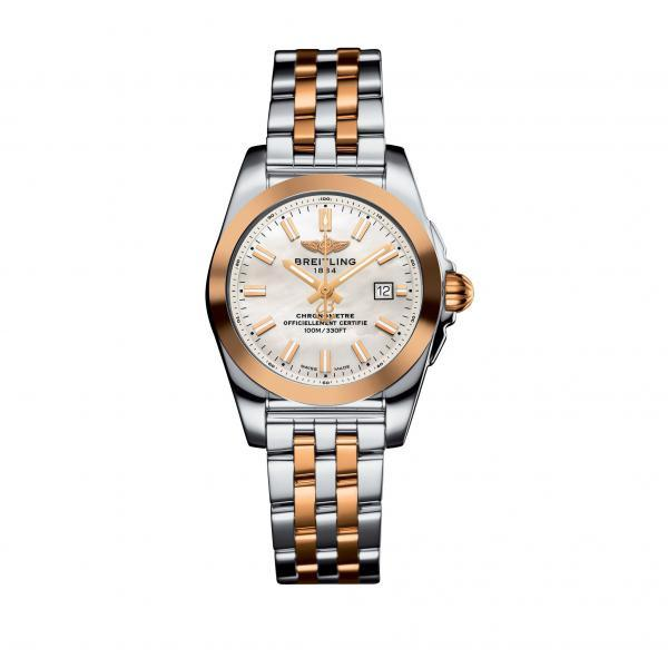 Breitling Galactic 29 Mother Of Pearl Stainless Steel, Rose Gold (Pilot) Folding Clasp