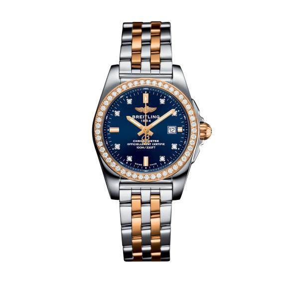Breitling Galactic 29 Blue Stainless Steel, Rose Gold (Pilot) Folding Clasp