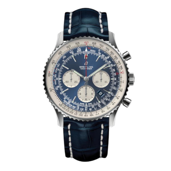 Breitling Navitimer 1 B01 Chronograph 46 Blue Leather (Crocodile) Tang Type