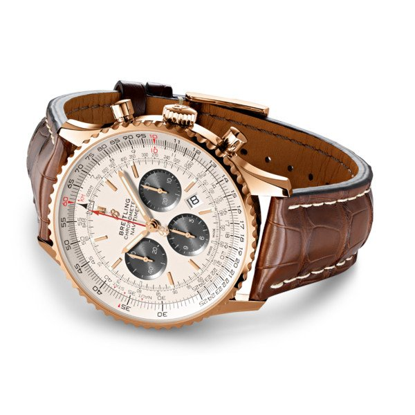 Breitling Navitimer 1 B01 Chronograph 46 Silver Leather (Crocodile) Tang Type