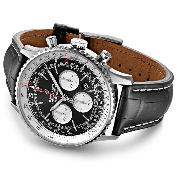 Breitling Navitimer 1 B01 Chronograph 46 Black Leather (Crocodile) Tang Type