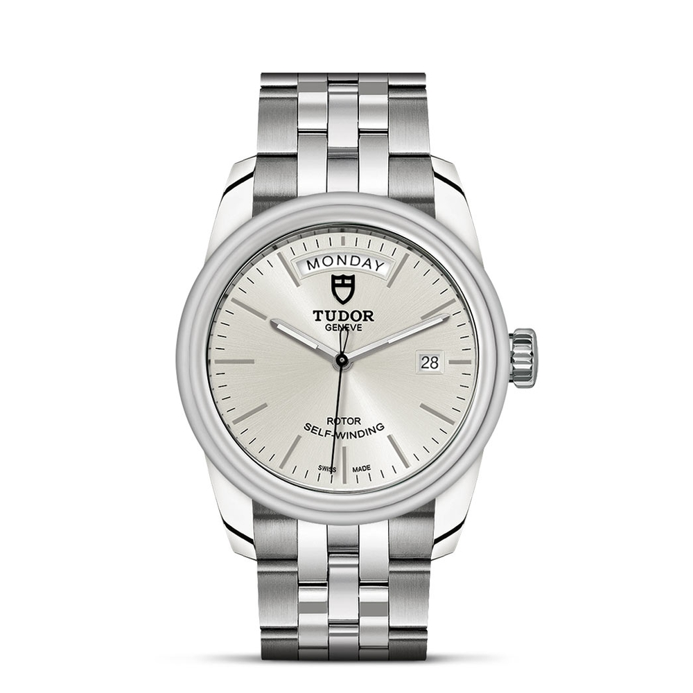 Tudor Glamour Day Date Stainless Steel Silver 39mm Ladies