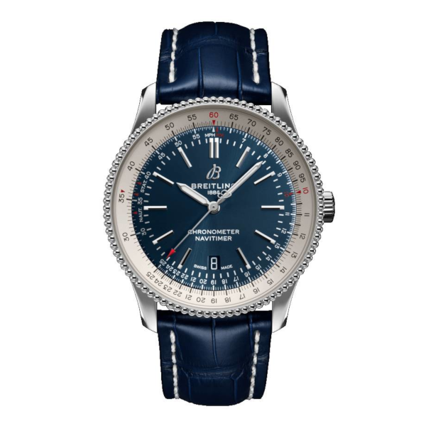 Breitling Navitimer Automatic 41 Blue Leather (Alligator) Tang Type