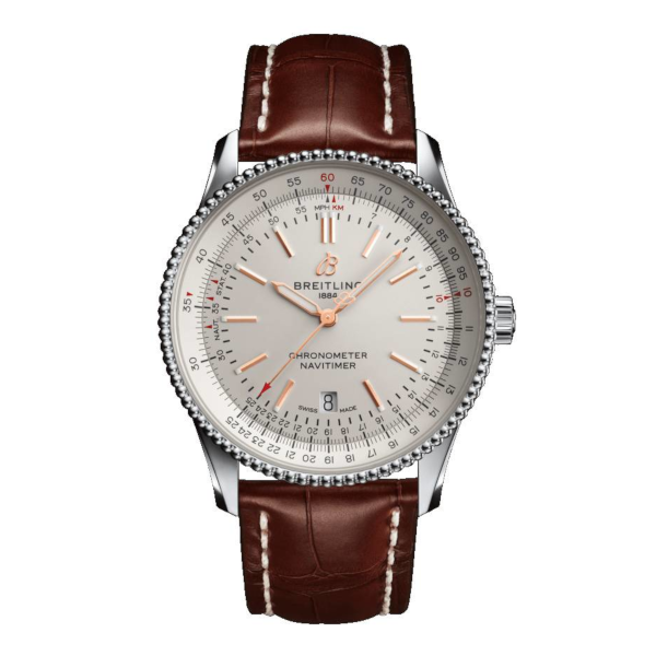 Breitling Navitimer Automatic 41 Silver Leather (Alligator) Tang Type