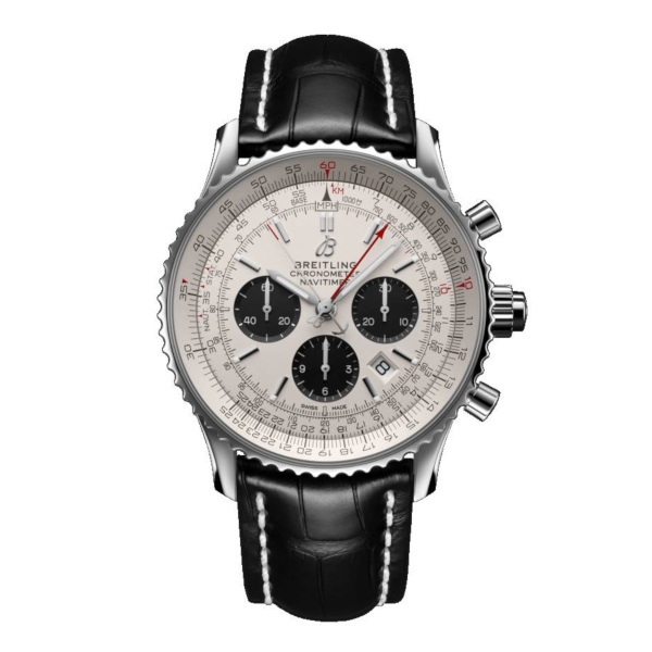 Breitling Navitimer 1 B03 Chronograph Rattrapante 45 Silver Leather (Alligator) Folding Clasp