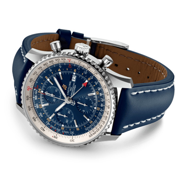 Breitling Navitimer 1 Chronograph GMT 46 Blue Leather Folding Clasp