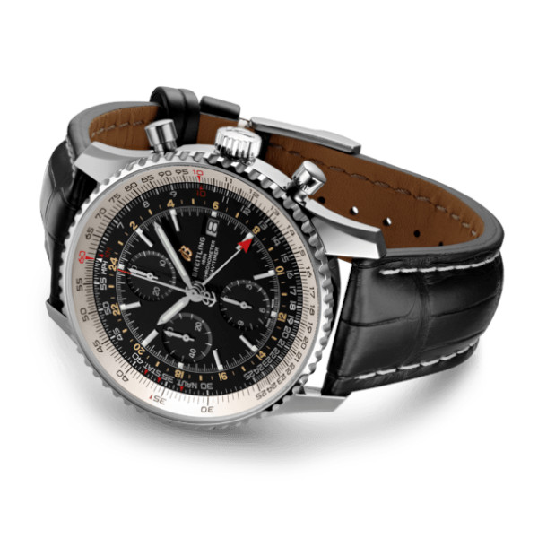Breitling Navitimer 1 Chronograph GMT 46 Black Leather (Alligator) Tang Type