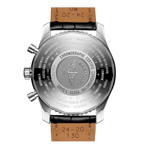 Breitling Navitimer 1 Chronograph GMT 46 Black Leather (Alligator) Folding Clasp