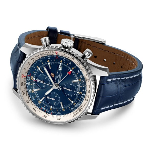 Breitling Navitimer 1 Chronograph GMT 46 Blue Leather (Alligator) Folding Clasp