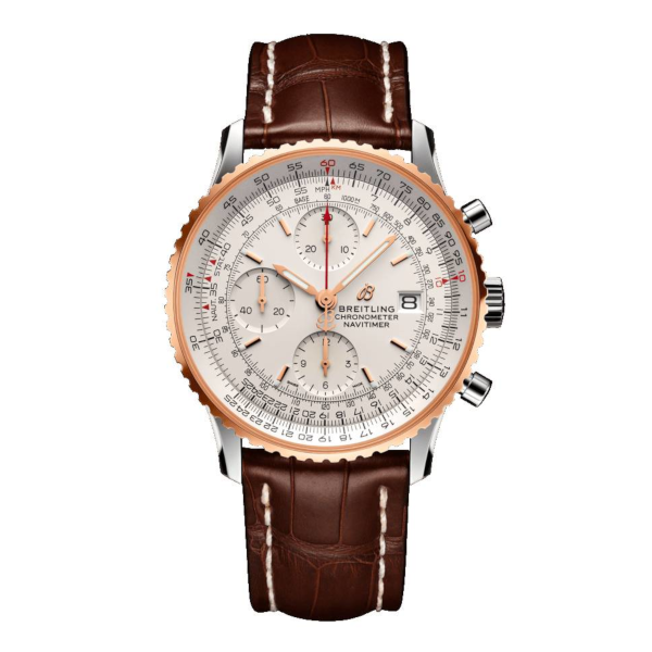 Breitling Navitimer 1 Chronograph 41 Silver Leather (Alligator) Tang-Type