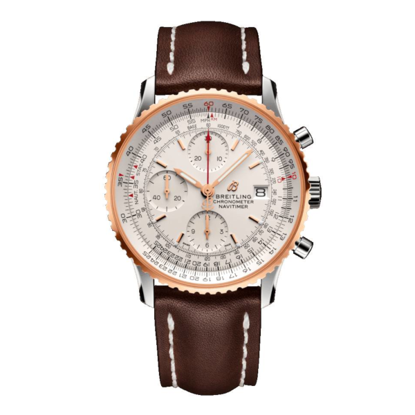 Breitling Navitimer 1 Chronograph 41 Silver Leather Tang Type