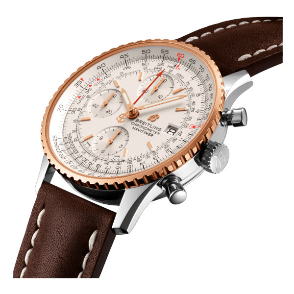Breitling Navitimer 1 Chronograph 41 Silver Leather Folding Clasp