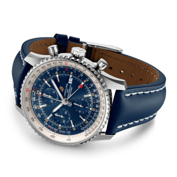 Breitling Navitimer 1 Chronograph GMT 46 Blue Leather Tang Type