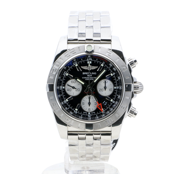 Breitling Chronomat 44 GMT Black Stainless Steel Folding Clasp