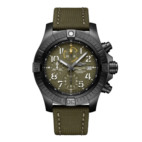Breitling Avenger Chronograph 45 Night Mission Automatic Military Strap Green Folding Clasp