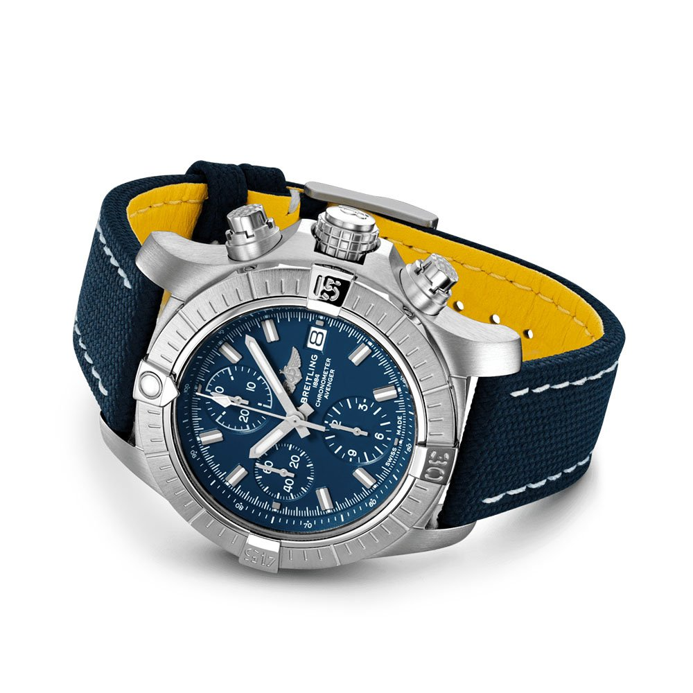 Breitling Avenger Chronograph 43 Automatic Military Strap Blue Folding Clasp
