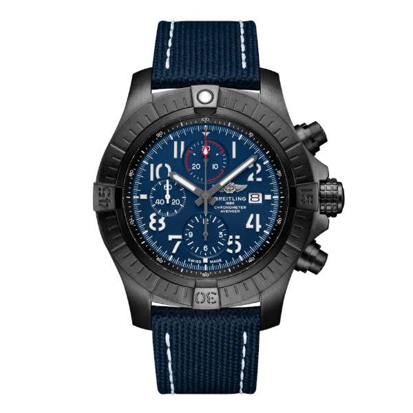 Breitling Super Avenger Chronograph 48 Night Mission Automatic Military Strap Blue