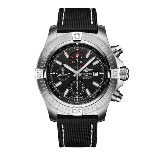 Breitling Super Avenger Chronograph 48 Automatic Military Strap Black Tang Clasp