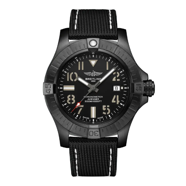 Breitling Avenger Automatic 45 Seawolf Night Mission Military Strap Black Tang Clasp