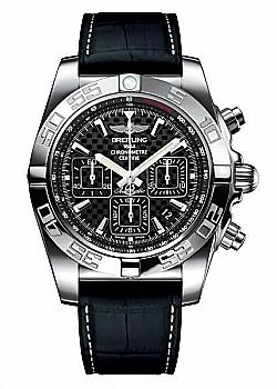 Breitling Chronomat 44 Black Leather (Crocodile) Folding Clasp