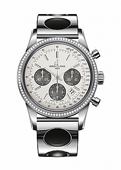 Breitling Transocean Chronograph Silver Stainless Steel Folding Clasp