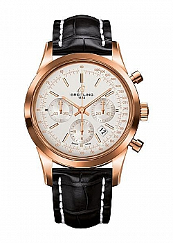 Breitling Transocean Chronograph Silver Gold Folding Clasp