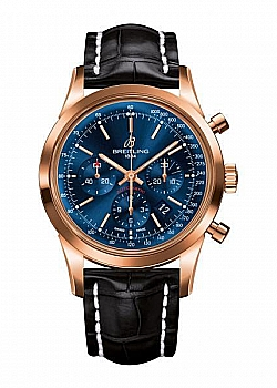 Breitling Transocean Chronograph Blue Gold Tang-Type