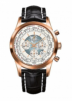 Breitling Transocean Chronograph Unitime White Leather (Crocodile) Tang-Type