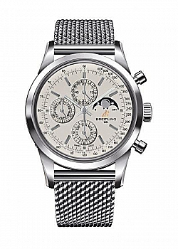 Breitling Transocean Chronograph 1461 Silver Stainless Steel Folding Clasp
