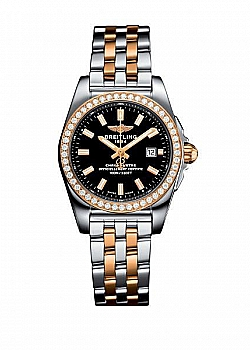 Breitling Galactic 29 Black Stainless Steel, Rose Gold (Pilot) Folding Clasp