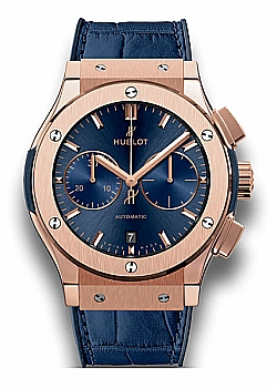 Hublot Classic Fusion Blue Chronograph King Gold