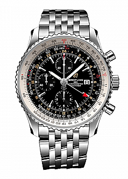 Breitling Navitimer 1 Chronograph GMT 46 Black Stainless Steel Folding Clasp