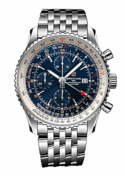 Breitling Navitimer 1 Chronograph GMT 46 Blue Stainless Steel Folding Clasp
