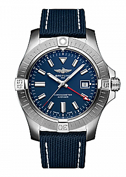 Breitling Avenger Automatic GMT 45 Military Strap Blue Folding Clasp
